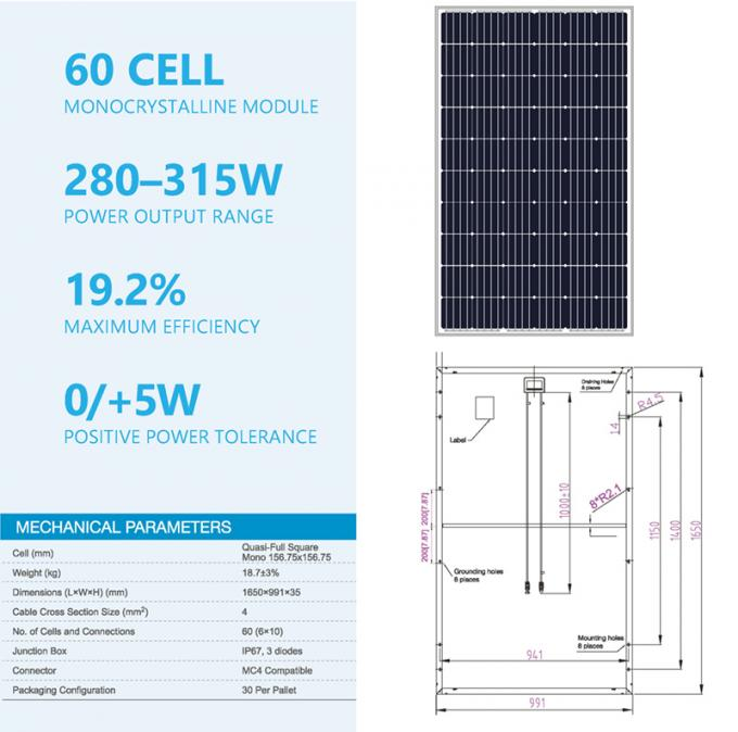 60 Cell 300W Hệ thống điện Monocrystalline PV Solar Module